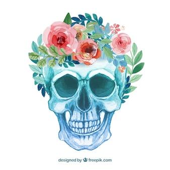 Pintados a mano flores woth cráneo