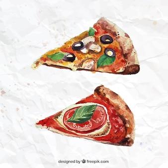 Pintados a mano porciones de pizza