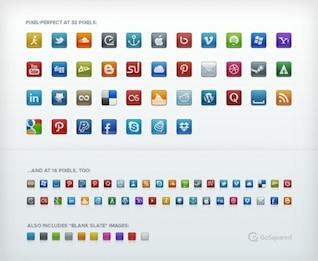 pixel iconos perfectos medios de comunicación social establece png psd