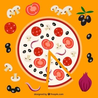 Pizza deliciosa de verduras