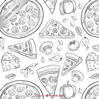 Patrón de dibujos de pizza