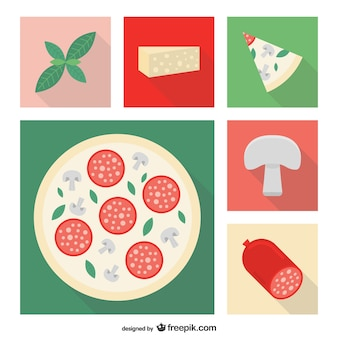 Vector ingredientes de pizza