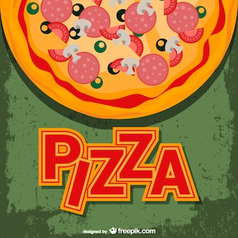 Vector de pizza con rótulo
