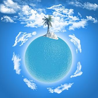 Planeta con una isla