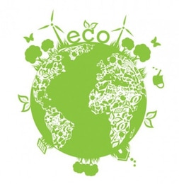 Planeta ecológica verde con las plantas en el fondo blanco