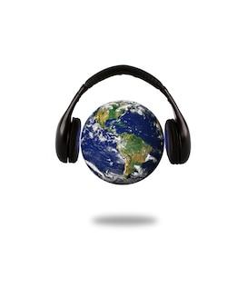 Planeta tierra con auriculares