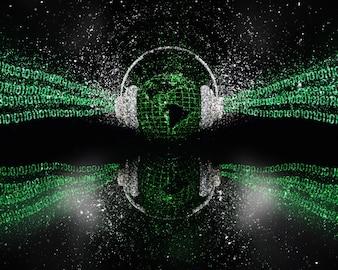 Planeta tierra escuchando música