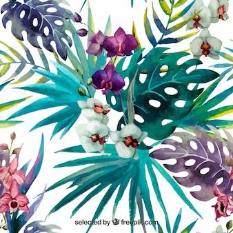Plantas tropicales pintadas a mano