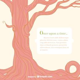 Plantilla con árbol de cuento de hadas