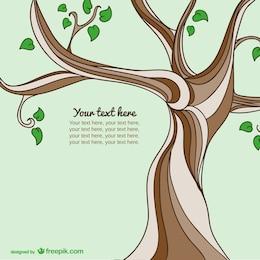 Plantilla con árbol dibujado a mano