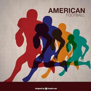 Plantilla con siluetas de colores de jugadores de fútbol americano