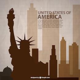 Plantilla con siluetas de Estados Unidos