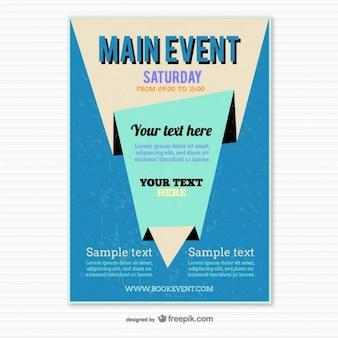 Plantilla de cartel azul estilo origami