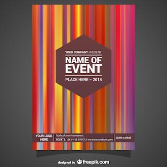 Plantilla de cartel con rayas de colores
