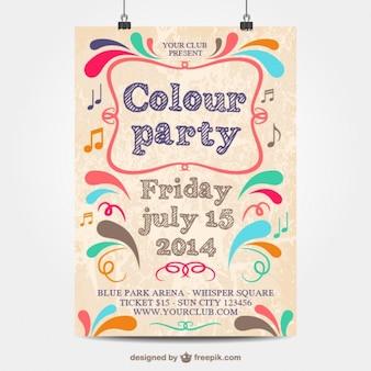 Plantilla de cartel de fiesta a color