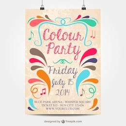 Plantilla de cartel para fiesta de colores