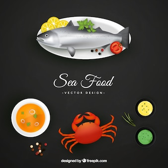 Plantilla de cocinar pescado