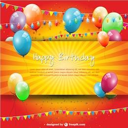 Plantilla de cumpleaños con globos de colores
