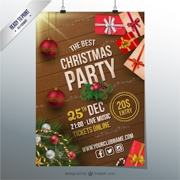 Plantilla de flyer de fiesta de Navidad CMYK