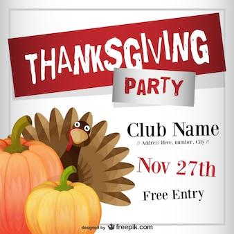 Plantilla de flyer para fiesta de Acción de Gracias