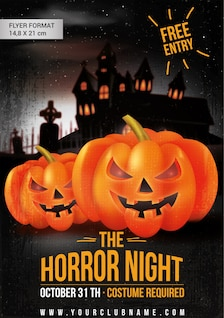 Plantilla de flyer para fiesta de Halloween