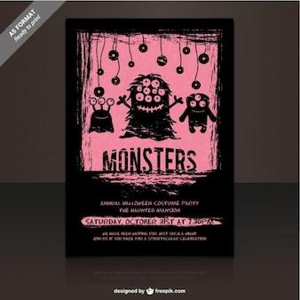 Plantilla de flyer para fiesta de monstruos