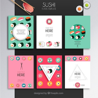 Plantilla de folletos sushi