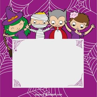 Plantilla de Halloween con niños