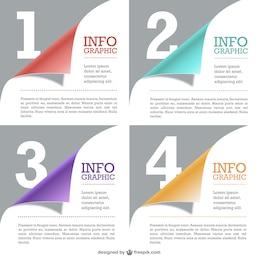 Plantilla de infografía con textura de páginas de papel