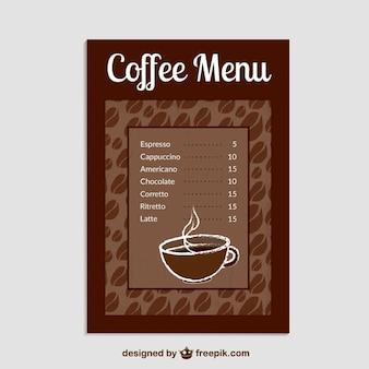 Plantilla de lista de cafés