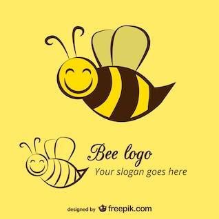 Plantilla de logotipo abeja feliz