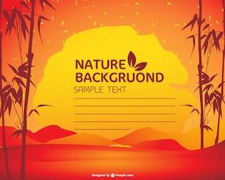 Plantilla de naturaleza con puesta de sol