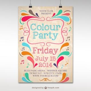Plantilla de póster para fiesta de colores