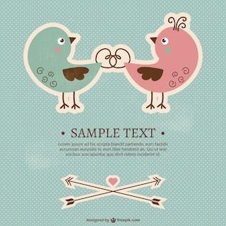 Plantilla de tarjeta de San Valentín con pájaros