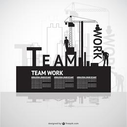 Plantilla de trabajo en equipo de construcción