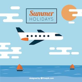 Plantilla de vacaciones con avión