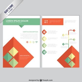 Plantilla del folleto con cuadrados