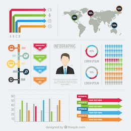 Plantilla Infografía con diagramas de colores