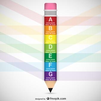 Plantilla infográfica con forma de lápiz