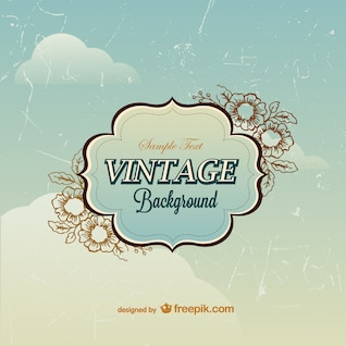 Plantilla vintage con cielo de fondo
