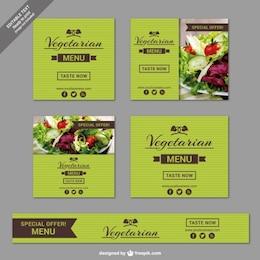 Plantillas de banner de restaurante vegetariano
