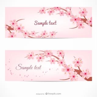 Plantillas de banners con ramas de cerezo