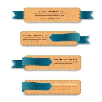 Plantillas de etiquetas con textura de cuero