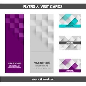 Plantillas de flyers y tarjetas estilo mosaico
