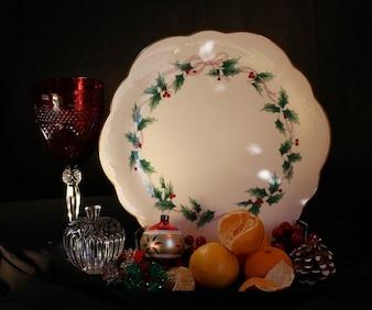 Plato pastel mandarinas navidad, vacaciones, naturaleza muerta
