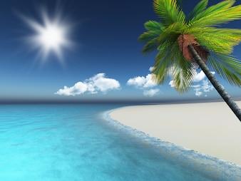 Playa 3d con una palmera