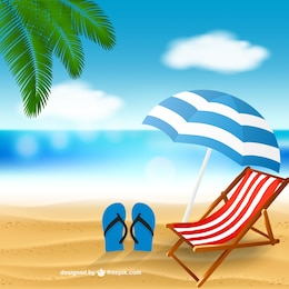 Playa con una tumbona
