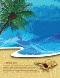 Playa y palmera vector