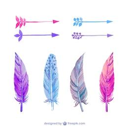 Plumas y flechas de acuarela