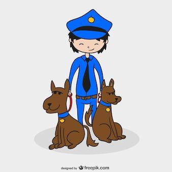 Dibujo de policía con perros